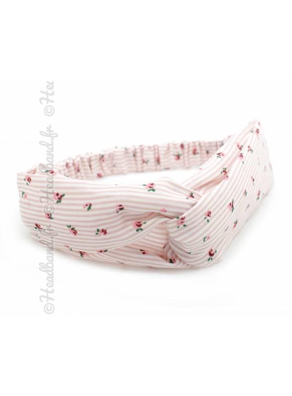 Headband pin-up croisé motif rayé rose