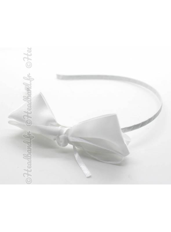 Serre-tête noeud blanc cérémonie
