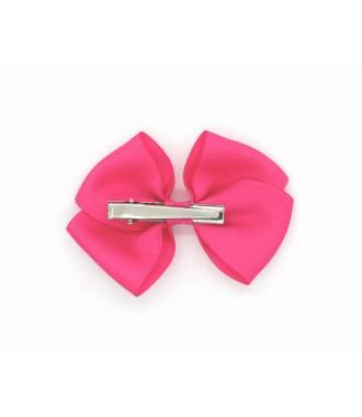Barrette nœud pince clip fushia 10 cm