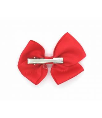 Barrette nœud pince clip rouge 10 cm