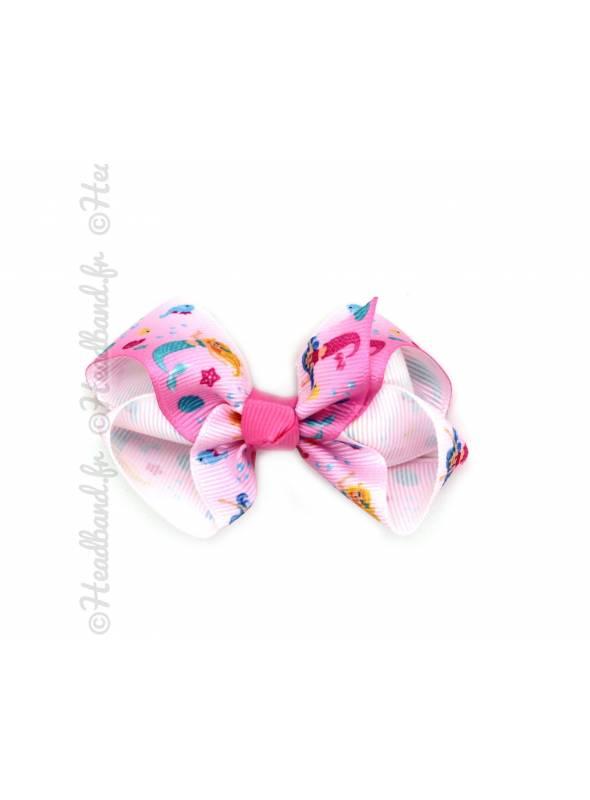 Barrette nœud enfant imprimé sirène rose