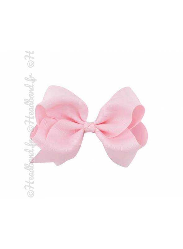 Barrette tissu noeud ruban rose pastel