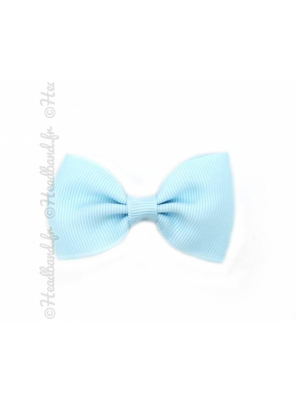 Pince nœud papillon clip bleu pastel 7 cm