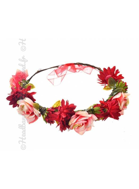 Headband guirlande fleur rouge lien organza