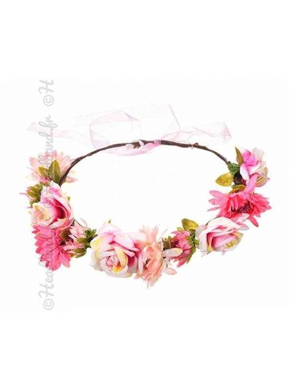 Headband guirlande fleur rose lien organza
