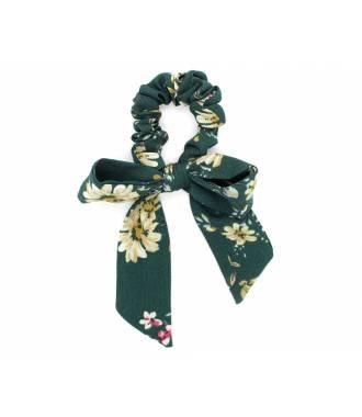 Chouchou mousseline motif floral vert