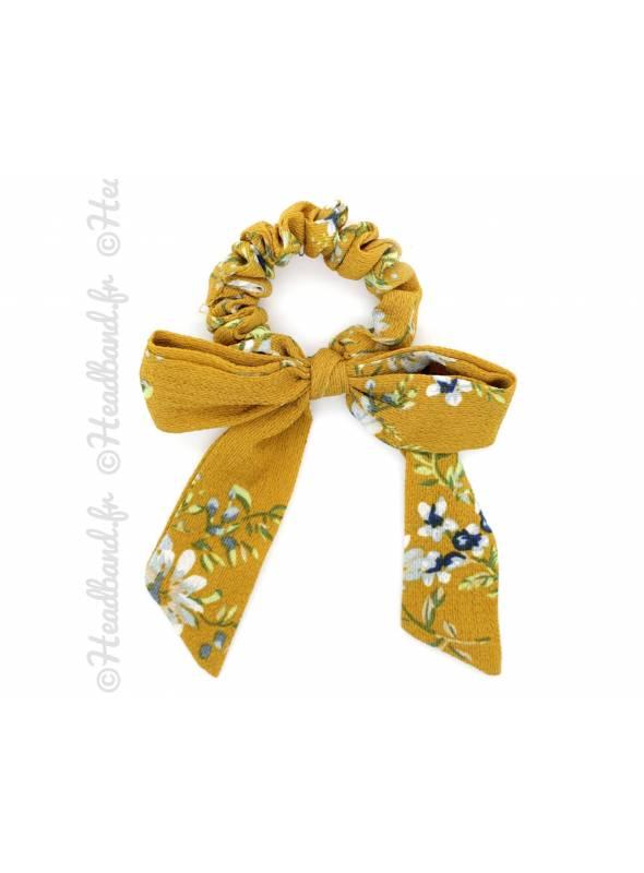 Chouchou mousseline motif floral moutarde