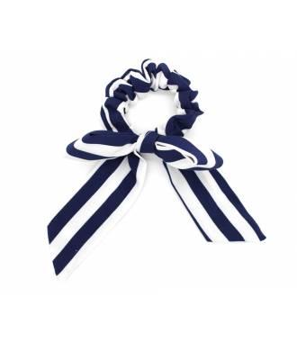 Chouchou mousseline motif rayé bleu