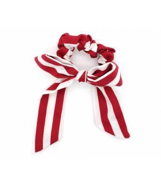 Chouchou mousseline motif rayé rouge