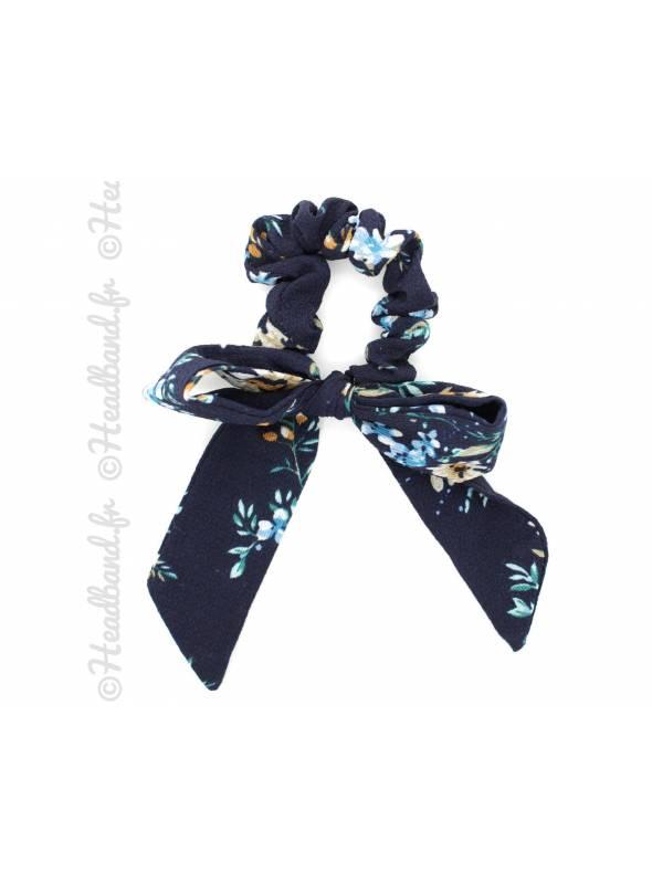 Chouchou mousseline motif floral bleu