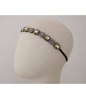 Headband bijou doré et gris en perles