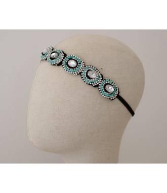 Bijou de tête perles géométriques bleu