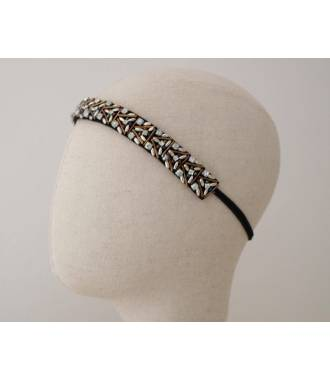 Bandeau soirée strass blanc et perles bronze