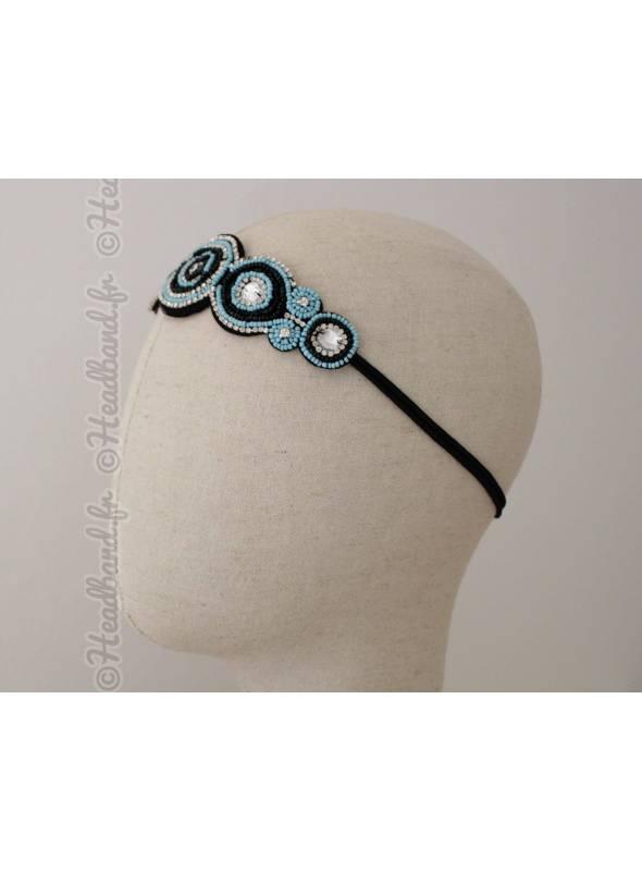 Tour de tête perles ronds turquoise et noir