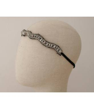 Headband en perles vague gris