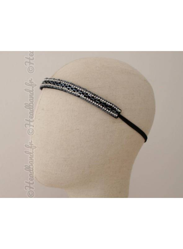 Bandeau en perles et strass bleu