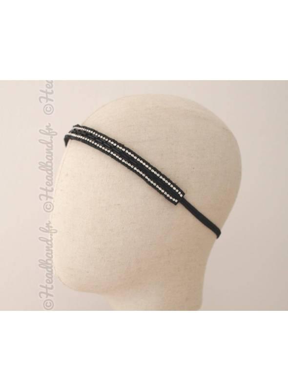 Bandeau en perles noires et contour strass
