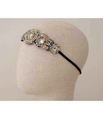 Bandeau applique perles multicolores