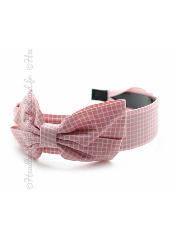 Serre-tête large noeud motif carreaux rose