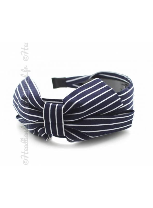 Serre-tête large noeud rayures fines marine