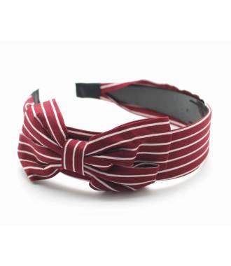 Serre-tête large noeud rayures fines rouge