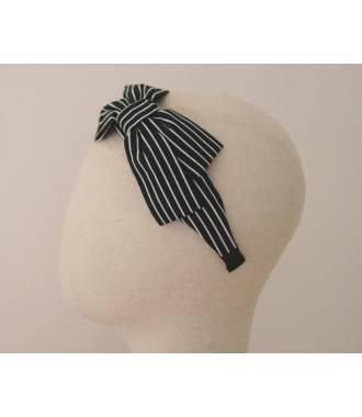 Serre-tête large noeud rayures fines noir