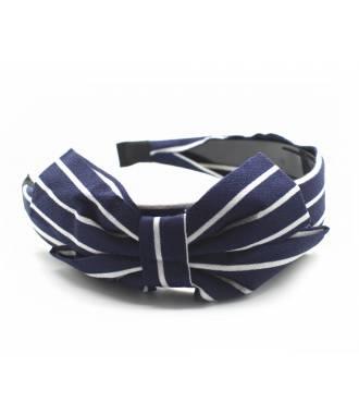 Serre-tête large noeud rayé bleu