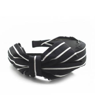 Serre-tête large noeud rayé noir