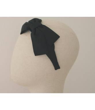 Serre-tête large noeud uni noir