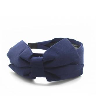 Serre-tête large noeud uni bleu marine
