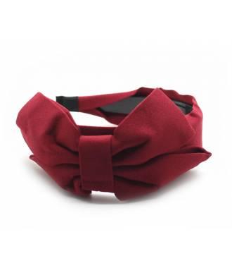Serre-tête large noeud uni rouge