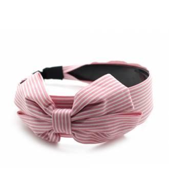Serre-tête large noeud motif rayé rose