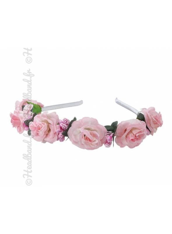 Tour de tête demoiselle d'honneur fleurs rose