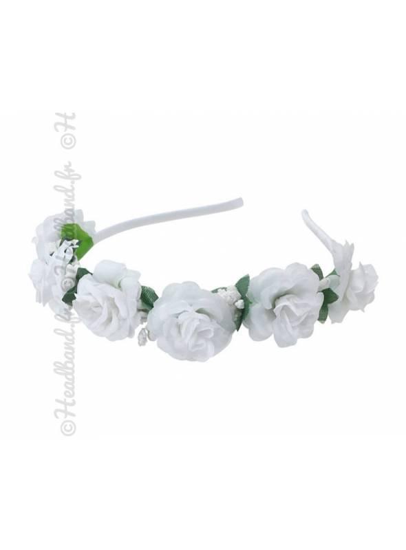 Tour de tête demoiselle d'honneur fleurs blanches