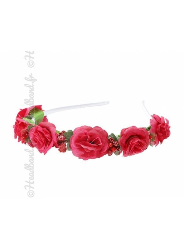 Tour de tête demoiselle d'honneur fleurs rouge