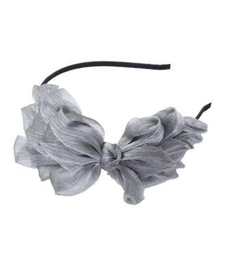 Serre-tête cérémonie noeud organza gris