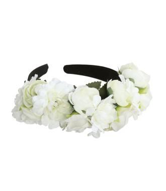 Serre-tête mariage couronne grosses fleurs rose