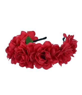 Serre-tête mariage couronne grosses fleurs bohème