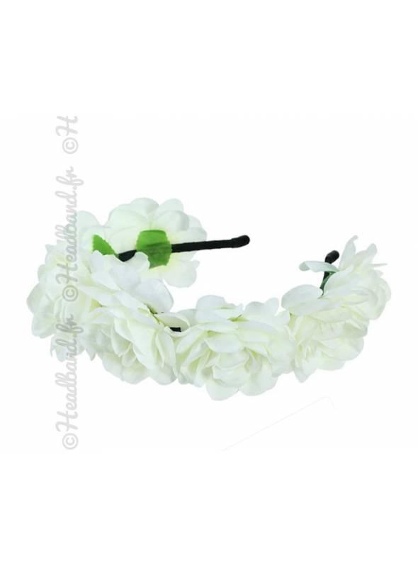 Tour de tête bohème maxi-fleurs blanc