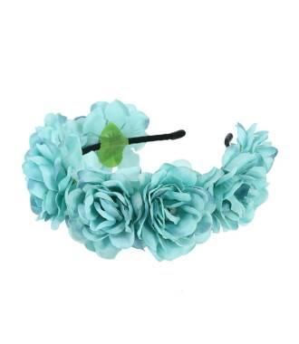 Tour de tête bohème maxi-fleurs bleu