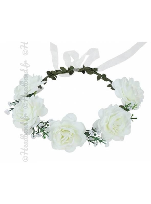 Couronne fleurie cérémonie fleur textile crème