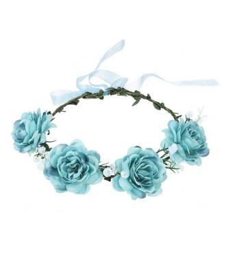 Couronne fleurie cérémonie fleur textile bleu