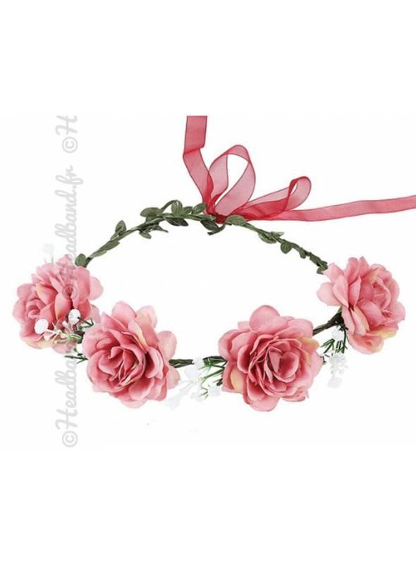 Couronne fleurie cérémonie fleur textile rose poudré