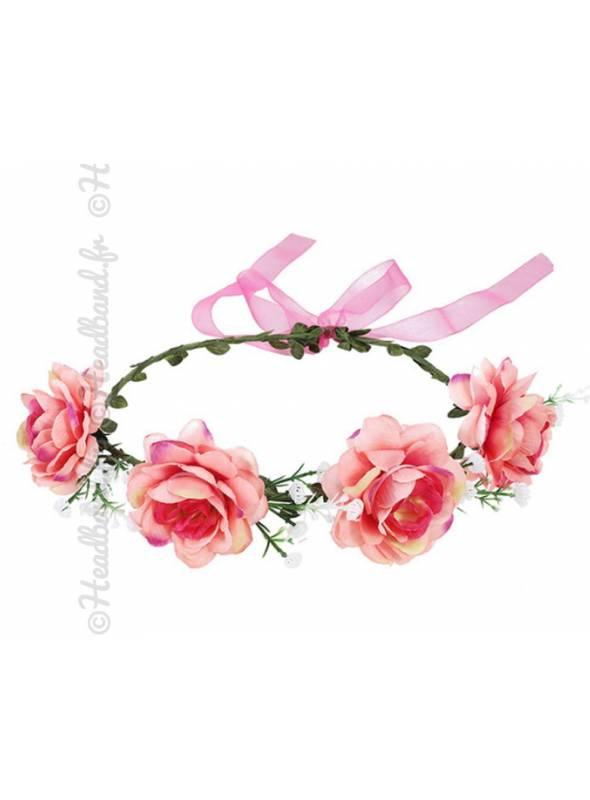 Couronne fleurie cérémonie fleur textile bohème
