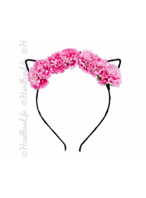 Serre-tête oreilles chat fleurs bohèmes blanc