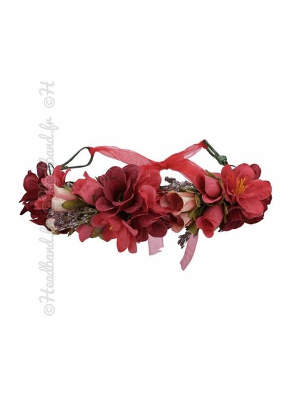 Maxi-couronne fleurs mariage bleue