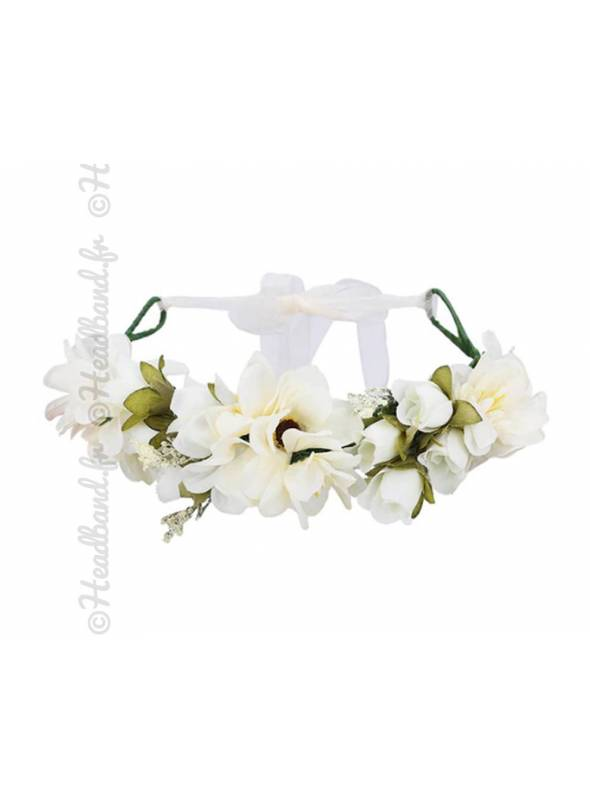 Maxi-couronne fleurs mariage crème