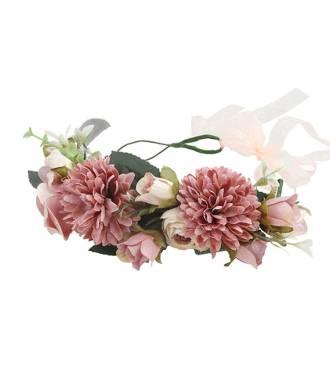 Maxi-couronne fleurs mariage rose poudré