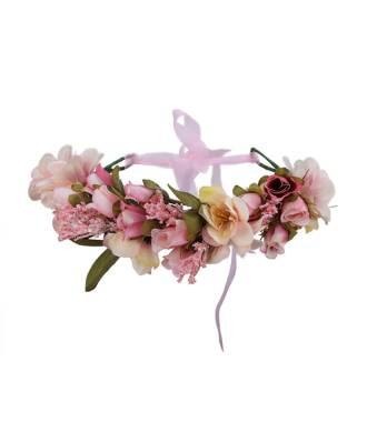 Maxi-couronne fleurs mariage bicolore pastel