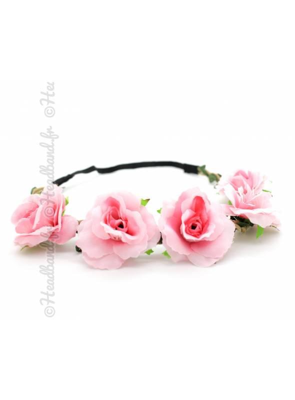 Bandeau fleuri cérémonie rose